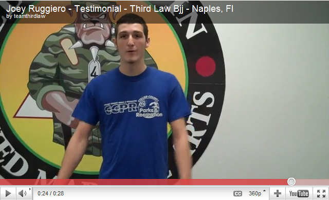 Joey Ruggiero (Blue Belt) talks about his experience at Team Third law's BJJ Program.