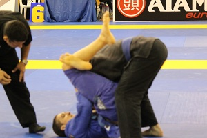 Joey Ruggiero defeats an opponent in the Blue Belt Heavyweight Teams Match by triangle